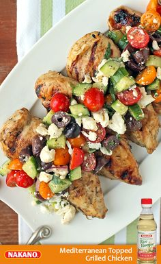 For a quick, low-carb dinner try this Mediterranean Topped Grilled Chicken. Chicken breasts are marinated in NAKANO® Original Seasoned Rice Vinegar, olive oil and fresh herbs before being grilled to juicy perfection. Serve with a flavor-packed topping of feta, olives, and crunchy, crisp cucumbers the whole family will love.