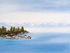 Lake Tahoe Painting, 16 x 12, Oil Painting, Original Art, Landscape Painting, Lake Painting, Mountain Painting, Blue painting, Pine Tree art by CFineArtStudio on Etsy