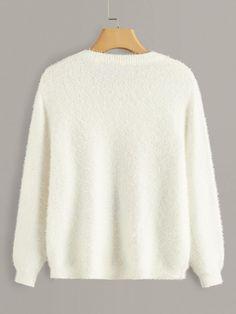 Elk Cartoon Pattern Fuzzy Sweater | SHEIN USA