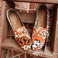 Custom Painted OSU Pistol Pete Glitter TOMS Shoes free