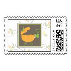 """""""Postal-tively Pumpkinaceous"""" Pumpkin Baby Carriage Postage Stamp"""