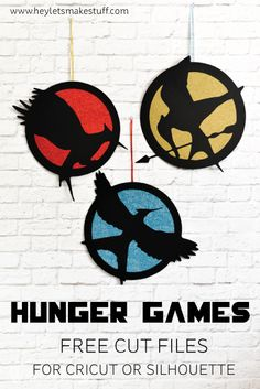 FREE SVG I've created Hunger Games cut files for you—versions of the three logos for the three books—which can be cut on a Cricut Explore or Silhouette Cameo! Hunger Games Decorations, Hunger Games Crafts, Hunger Games Logo, Hunger Games Shirt, Hunger Games Party, Party Games, Diy Games, Free Games, Hanger Game