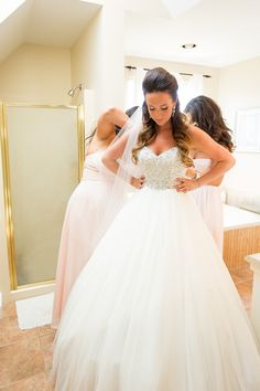 Gorgeous Maggie Sottero bride in a fairytale crystal ballgown, Esme. See more on this stunning Canadian wedding by La Pierre Photography!