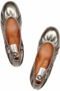Lanvin Metallic leather ballet flats in Pewter
