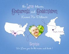 Custom Gift for Godparents, Long Distance Gift for Godchild, Distance Quote, Birthday Present Idea, Moving Away Gift, Two-Place Map Print by KeepsakeMaps on Etsy #GodchildrenGift #GodparentsGift #LongDistanceGift #PersonalizedGift #ColombiaMap #USMap #KeepsakeMaps #LongDistanceQuote