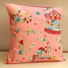 Pink circus pillow    Lovely pillow made of beautiful Japanese circus print fabric.