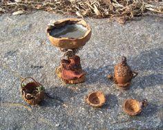 Miniature Fairy Furniture Walnut BIRDBATH Acorn TEA POT by Eyemuse, $30.00
