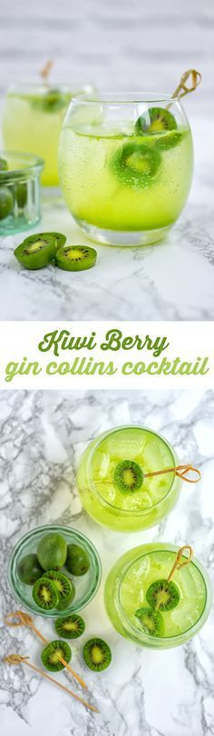 Kiwi Berry Gin Collins – a very refreshing gin based cocktail