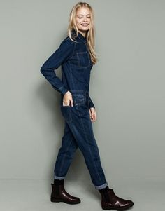 Pull&Bear - woman - dungarees and jumpsuits - denim jumpsuit - blue - Jumpsuit Blue, Jumpsuit Outfit, Long Sleeve Denim Jumpsuit, Style Bleu, Mode Style, Hot Outfits, Casual Outfits, Fashion Outfits, Fashion Now