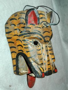Guatemala Mask Carved Wooden Feline Mask Old Chichicastenango Ceremonial Mayan