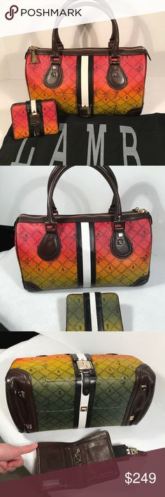 L.A.M.B. Ombré RASTA Satchel❤️💚💛 Rare & stunning Ombré Rasta Mandeville satchel handbag designed by Gwen Stefani. Dustbag included! Excellent condition handbag! Handles tight. Clean interior. Goldtone hardware w/ some faint scratches on buckle, hardly noticeable. Corners look great! 5 protective prongs on bottom. Both authentic & smokefree. Hard to find beauty! Review all photos & ask any questions prior to purchase💋 Retail Price $ 425.00! L.A.M.B. Bags Satchels