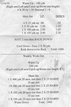Swim workouts!
