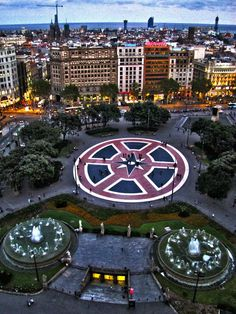 Barcelona, Plaça de Catalunya seen from above.
