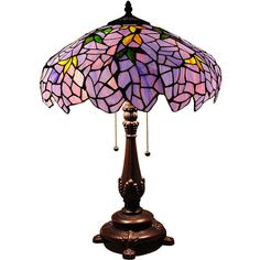 "Stained Glass Blue Gold Wisteria Shade Tiffany Style Table Lamp 24"" High #Handmade #StainedGlass"