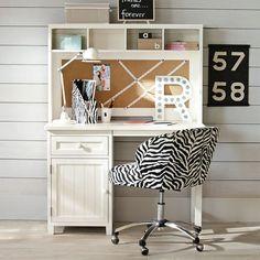 $600  Black, Brown, White Beadboard Space-Saving Desk + Hutch   PBteen