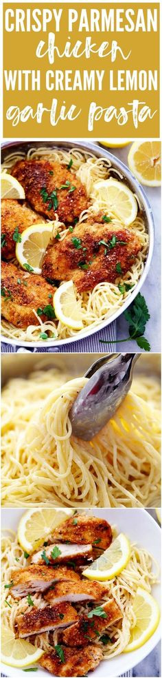 Crispy, tender and juicy parmesan crusted chicken over the most incredible creamy lemon garlic pasta! This is a must make meal!