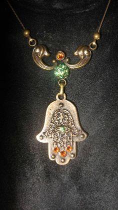 HAMSA Judaica Necklace Kabbalah Israel Swarovski Gift Israel crystal brass