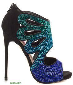 Blue Multi Stone High Heel Shoes