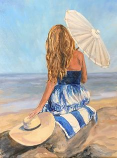 Happy Summer, Summer Art, Gold Coast, The Hamptons, Beach Mat, Outdoor Blanket, Ocean, Oil, Fine Art