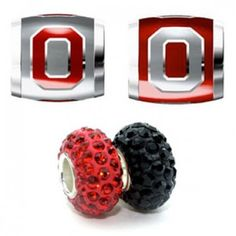 Teagan Collegiate Collection Bead: Ohio State Combo set. This bundle contains four Ohio State Beads:     OSU1 Red O on Gray Bead     OSU2 Gray O on Red Bead     BPSCR20 925 Silver Swarovski Gray/Silver Bead     BPSCR35 925 Silver Swarovski Red Bead  Beads are 925 Silver and Enamel. These are Teagan – Swarovski beads and they are compatible with Pandora, Biagi, Zable, Brighton, Troll and many other European style bracelets.