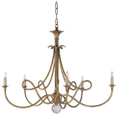 Antique Brass Double Twist Five Light Chandelier Visual Comfort And Company Candles Withou