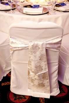 10-White & SIlver Chair Covers