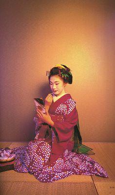 Maiko-Gion Japanese Fabric, Geisha, Kimono, Culture, Chic, Clothes, Beautiful, Fabrics, Style
