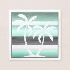 Pastel Mint Green Gray Watercolor Stripes Pattern Paper Napkin - diy cyo customize personalize design