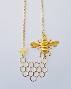 Image of I'll Have A Bee Please, Bob! Honeycomb Necklace