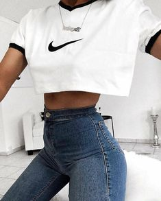 Nike white crop top with a high waisted jeans college outfits, nike outfits, trendy Cute Comfy Outfits, Sporty Outfits, Nike Outfits, Teen Fashion Outfits, Look Fashion, Stylish Outfits, Cool Outfits, Fashion Women, Sneaker Outfits
