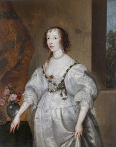 Queen Henrietta Maria by Sir Anthony Van Dyck Anthony Van Dyck, Sir Anthony, Henrietta Maria, House Of Stuart, 17th Century Fashion, Art Uk, Glamour, King Charles, Historical Clothing