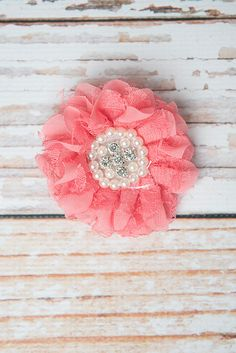 Lace flower hair clip - La Bella Rose Boutique. Girl's accessories, girls hairstyles, flower girl hair.