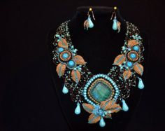 Turquoise and Gold!   Bead Embroidered collar