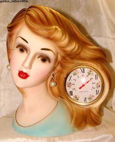 """JAPAN"" Lady Head Vase with a side-swept hairdo! Vintage Planters, Vintage Vases, Ceramic Lady Heads, Glamour Ladies, Old Vases, Head Planters, Retro Clock, Half Dolls, Head Shapes"