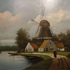 Olieverf schilderij vam J Rijke in goud vergulde lijst