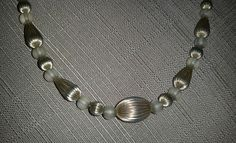 """Vintage Sterling Silver RIBBED REEDED & Frosted Glass BEAD NECKLACE 29"""" long"""