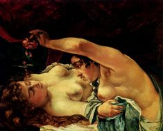 The Erotic Side of Art Venus and Psyche - Erotic painting by Gustave Courbet. Honore Daumier, Gustave Courbet, French Paintings, Romanticism, Texture Painting, French Art, Art Plastique, Figure Painting, Erotic Art