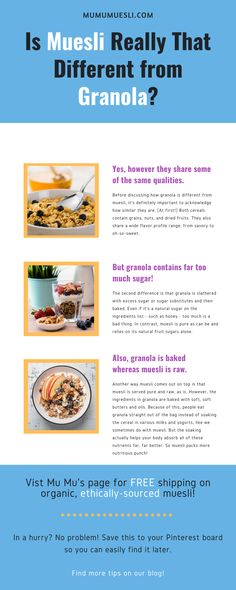 Granola vs Muesli: Which is Healthier? Clean Eating Food List, Healthy Eating Facts, Healthy Eating Guidelines, Healthy Eating Recipes, Food Nutrition Facts, Holistic Nutrition, Muesli, Granola, Top Food Blogs
