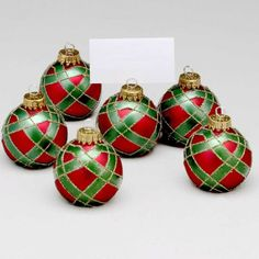 Red and green Tartan Plaid Christmas Ornaments.