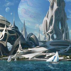 Fantasy Landscape, Urban Landscape, Sci Fi City, Dylan And Cole, Organic Structure, Alien Planet, Futuristic City, Image Painting, Dream City