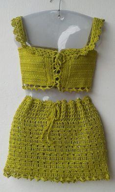 Crochet Crop Top, Crochet Bikini, Crochet Woman, Knit Crochet, Crochet Clothes, Diy Clothes, Crop Top Pattern, Crochet Skirt Pattern, Hippie Crochet