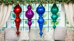 Ken Wingard is getting into the holiday spirit by making decorative giant ornaments. Large Christmas Decorations, Large Christmas Ornaments, Christmas Lights, Christmas Crafts, Holiday Lights, Silver Ornaments, Prim Christmas, Antique Christmas, Christmas Things