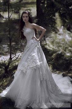 A-line One-Shoulder Floor-length Chapel Pick-up Wedding Dress *