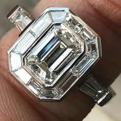 Emerald Cut Diamond Engagement With Trapezoid Halo Vintage