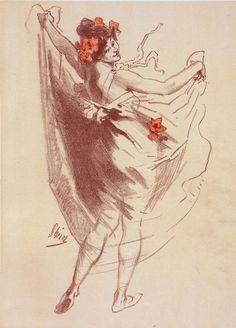 """By Jules Chéret (1836-1932), 1891, original drawing for the """"Maîtres de l'Affiche"""", L'Imprimerie Chaix, Paris. (F)"""