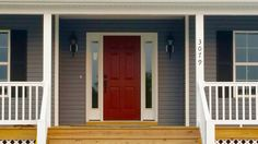 51 ideas for home exterior colors sherwin williams red doors Front Door Paint Colors, Exterior Paint Colors For House, Painted Front Doors, Paint Colors For Home, Exterior Colors, Exterior Front Doors, Grey Exterior, House Doors, Cabin Doors