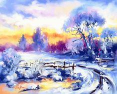 Frosty sunset by Mishelangello on DeviantArt Modern Art Paintings, Nature Paintings, Digital Paintings, Nature Gif, Online Painting, Creative Art, Digital Art, Deviantart, Artist