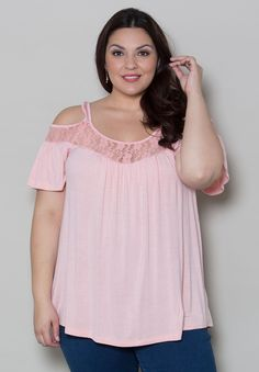 Stacy Cold Shoulder Top - Light Peach
