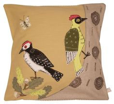 Woodpecker - embroidered cushion   Made By Hand Online  by the talented Poppy Treffry.