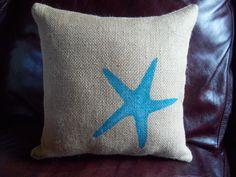 Burlap Starfish Decorative Pillow